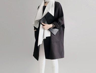 [货的日子;软木肥大呢子大衣 - 黑色赛季进货大小为F,L可选