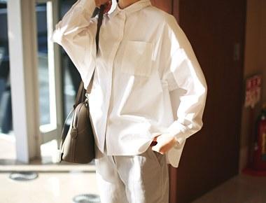 登录衬衫 - 白料,缝制,细节,不错〜感谢信门宽周