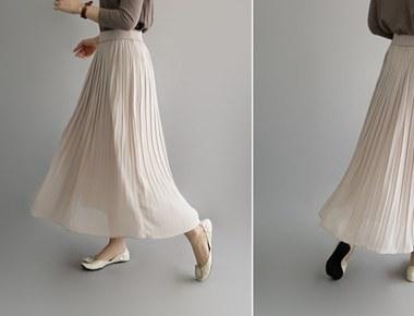 Geurwi百褶长裙(米色)真丝昂贵的材料