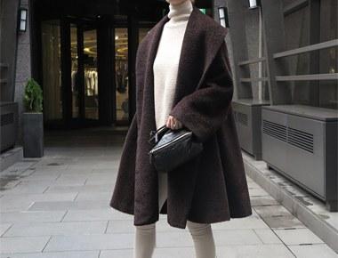 最大羊驼毛披肩外套 - 咖啡色
