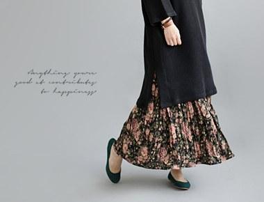 [当天发货]马尔克斯花百褶短裙无任何质地柔软了一个漂亮的花印