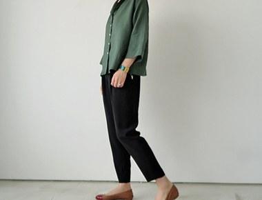 最大的拉链半宽松长裤 - 制作品牌线在黑色