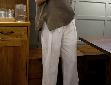 [当天发货]达雷尔亚麻宽短裤(白色)亚撒衬放养季节