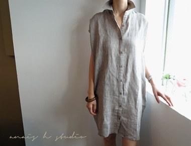 [当天发货]劳伦长衬衫连衣裙 - 卡其色