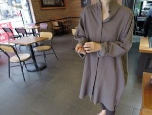 [当天发货]沉箱长衬衫连衣裙 - 卡其背板翅膀朴施厚点 - 但它也是一个很yeori yeori贝里好较厚的材料质感^^