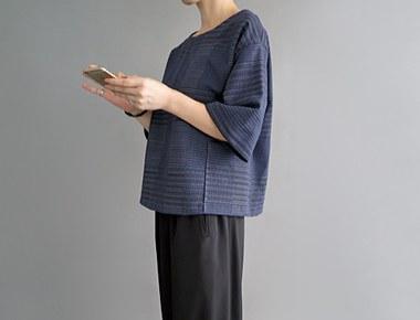 发货[一天;巴尔扎克jyagadeu女衬衫 - 昂贵的材料的蓝色豪华