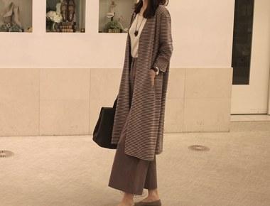 [当天发货]玛格丽特条纹长款开衫 - 米色