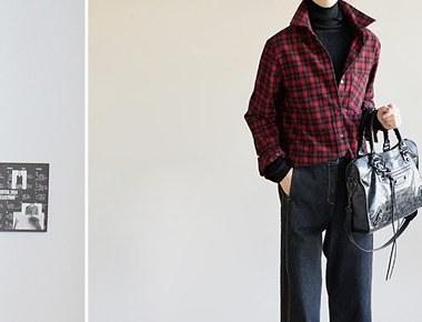 [当天发货]红色格子袖口宽大衬衫