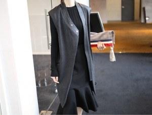 RO。背心 - 黑色豪华的用料和独特的干练/利索设计