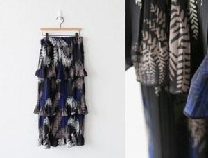 [当天发货] SACA荷叶而裙裙适度干练/利索印刷荷叶裙'重新总是真相^^