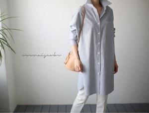 [当天发货]赫斯特条纹衬衫连衣裙 -  2C周门宽周