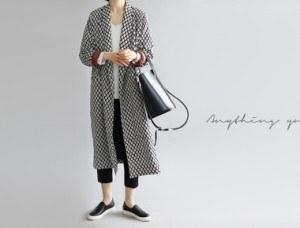 [当天发货]禅打印长袍 - 黑
