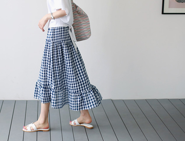 格子褶皱裙子 -  2C