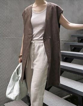 Jessi linen long vest