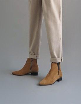伊莎贝尔短靴 - 驼色(翻毛皮)