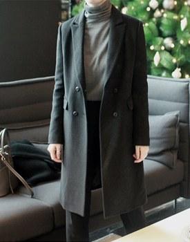 多佛双呢子大衣 - 黑