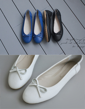 Leather bowknot flat - 3c