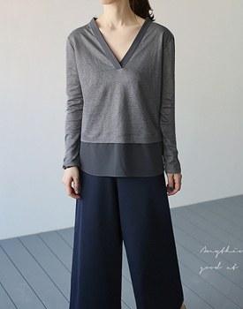 Linen color combination v-neck - 2c