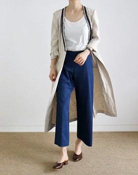 Tape linen long coat