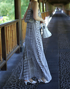 Print romantic long dress
