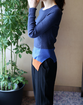 MER color combination knitted top - 2c