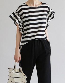Frill Linen Stripe BL - 2c