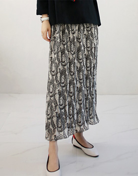 Pleats Paisley Skirt - 2c