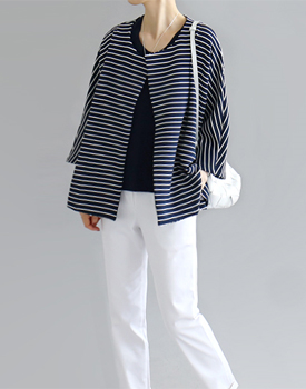 THE striped cardigan