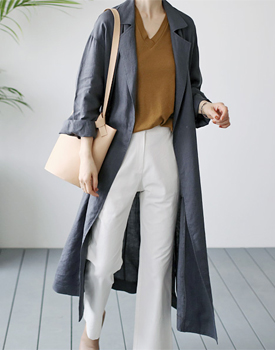 Front Linen Long Coat - 2c
