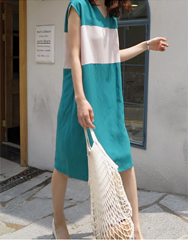 [当天发货]拉尔森配色连衣裙 -  2C感谢信门宽周