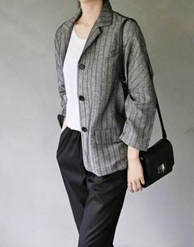 Heist linen herringbone jacket (black)