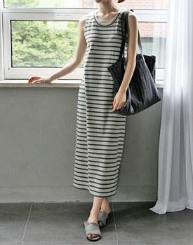 Bassett stripe long onepiece - 2c
