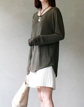 Summer linen long sleeve tee - 3c